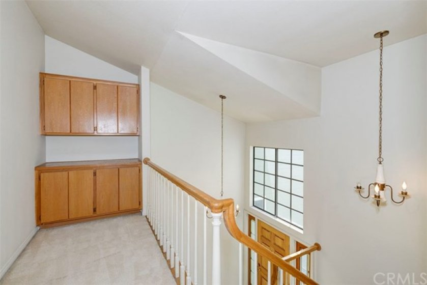 Large landing upstairs with storage! Master on one end, secondary bedrooms at the other!