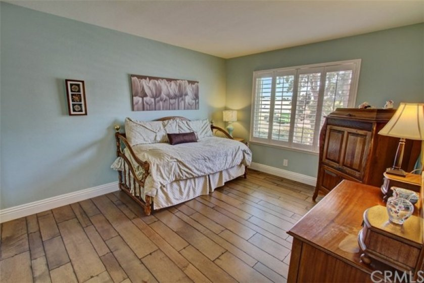 Spacious guest bedroom with decorator touches