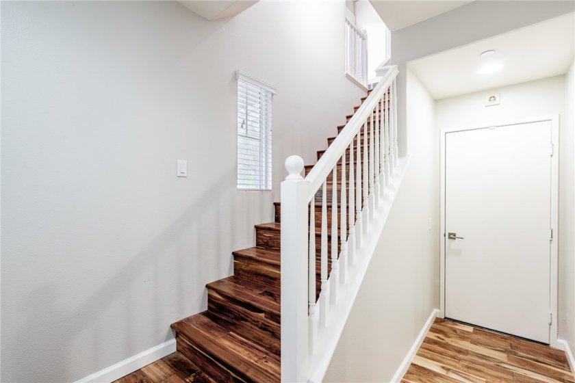 Hardwood floors upon entering.