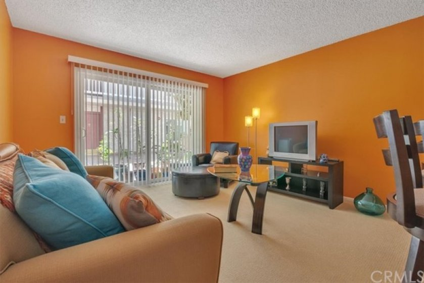 Open and Bright Living Space on the second level at the South Newport Condominiums of Long Beach.