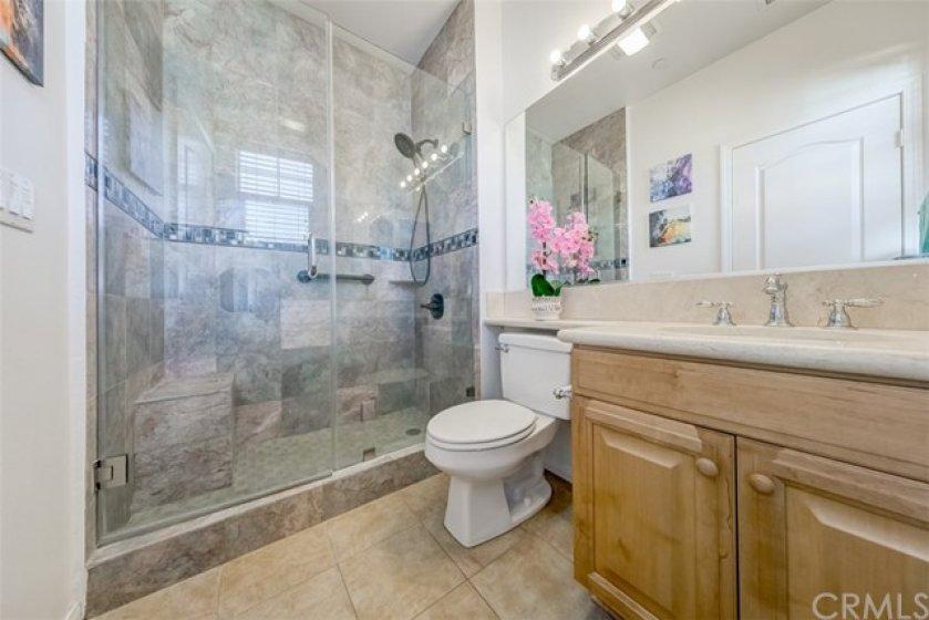 Newer marble shower.