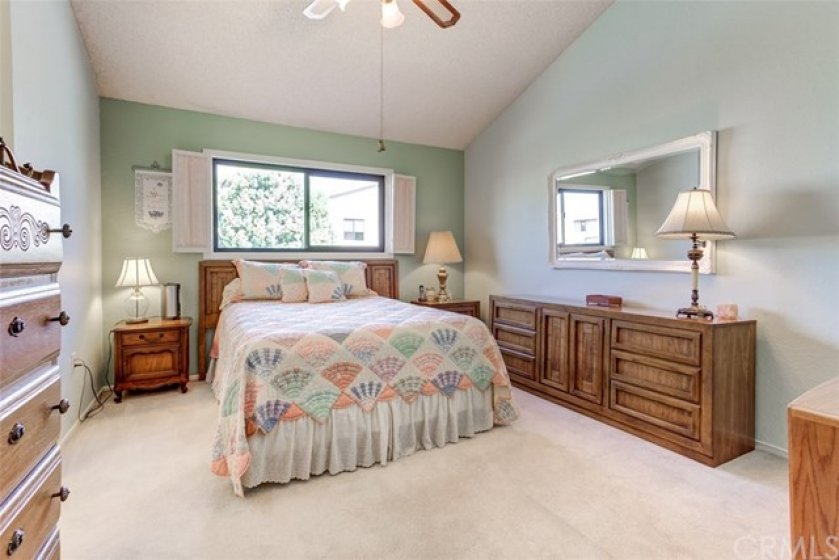 The Large Master Bedroom features a vaulted ceiling, walk in closet, and private bathroom.