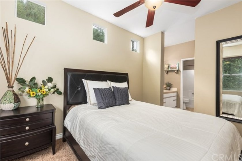Master bedroom with attached bathroom & walk in closet