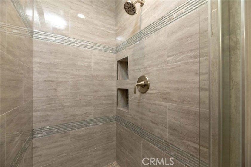 Master Bath Shower Has Custom Porcelain Tile, Floor To Ceiling