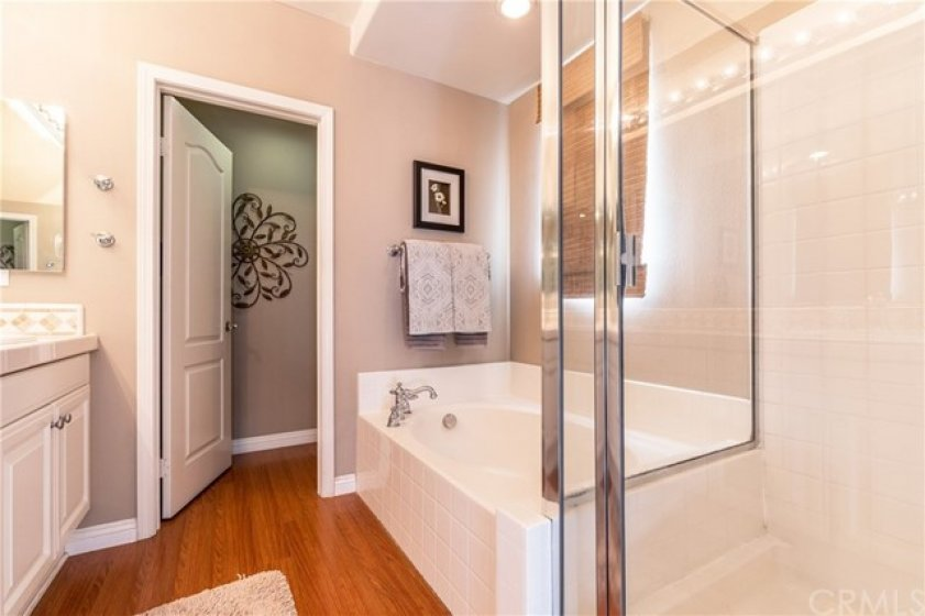 Separate shower and roman style tub in Master bath room