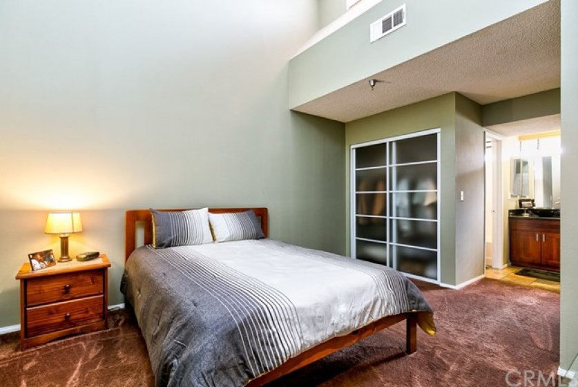 Master bedroom with skylights and showing closet #1 with frosted glass doors