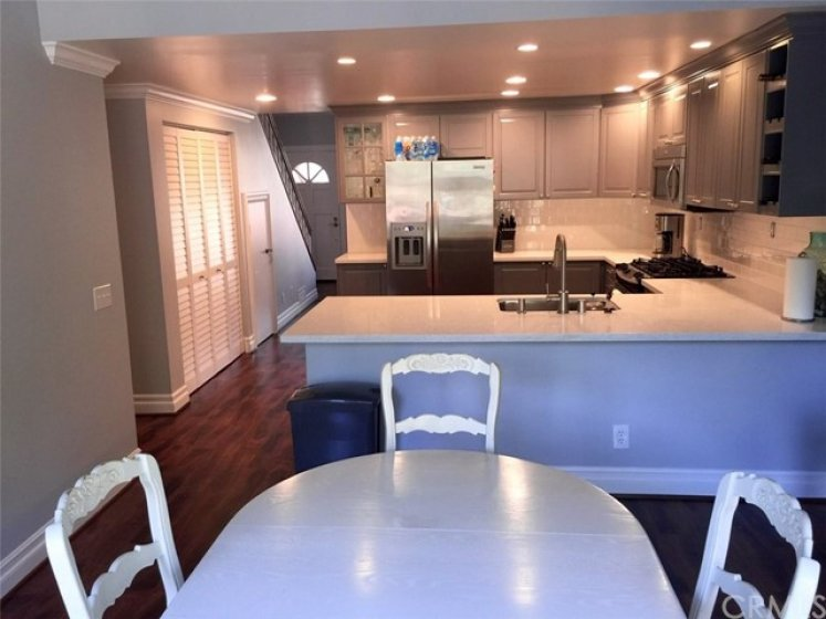 View from dining area into the kitchen. There is plenty of room for Bar Seating as well.