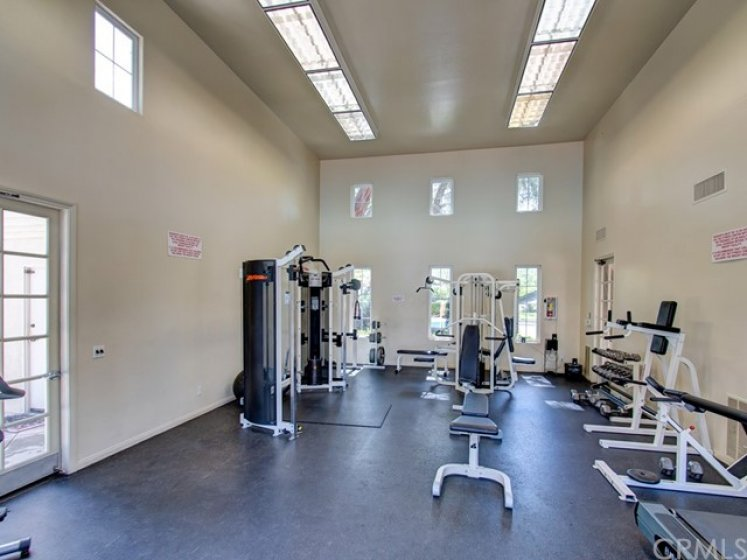 Association amenities include this exercise gym