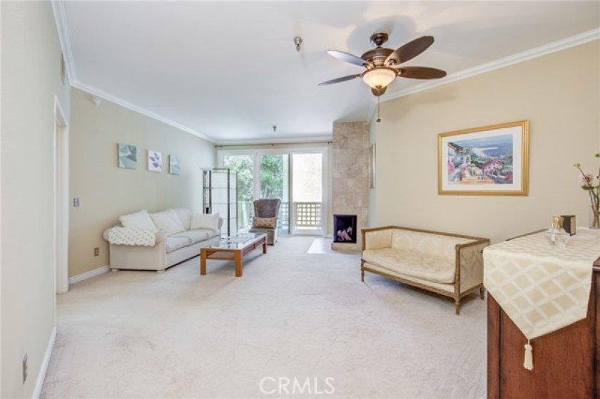 Grand-sized living room. Brand new dual-pane sliding doors