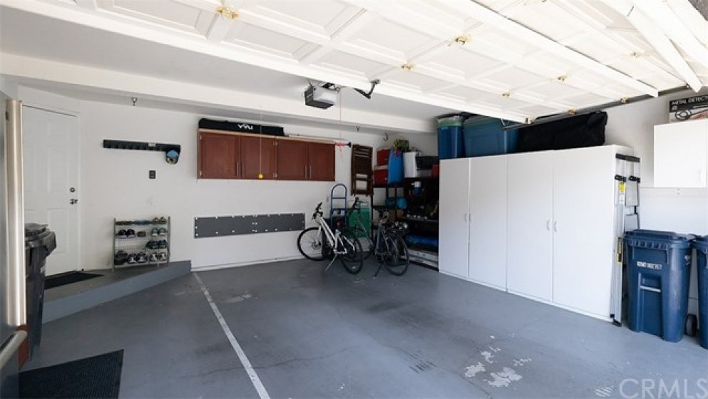Two Car Garage with Built-In Cabinet Storage