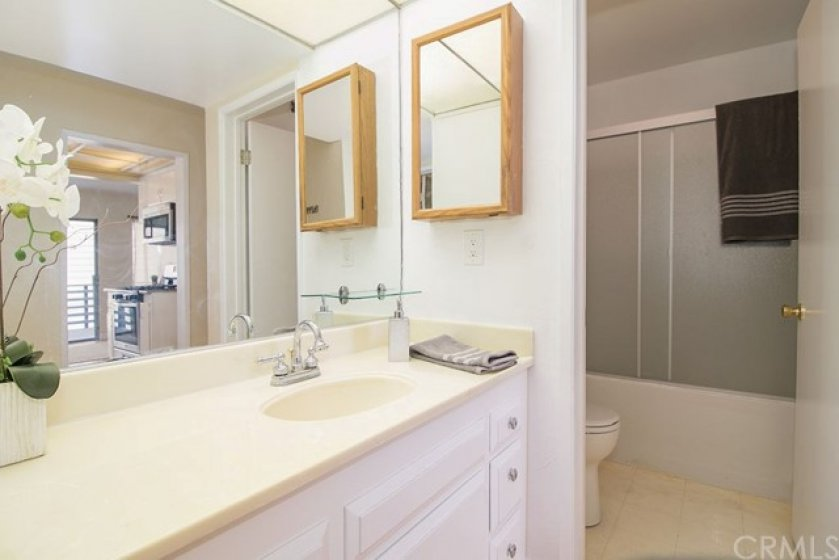 Here you see the sink with plenty of counter space, large mirror, medicine cabinet and a sneak peek of the full bathroom.