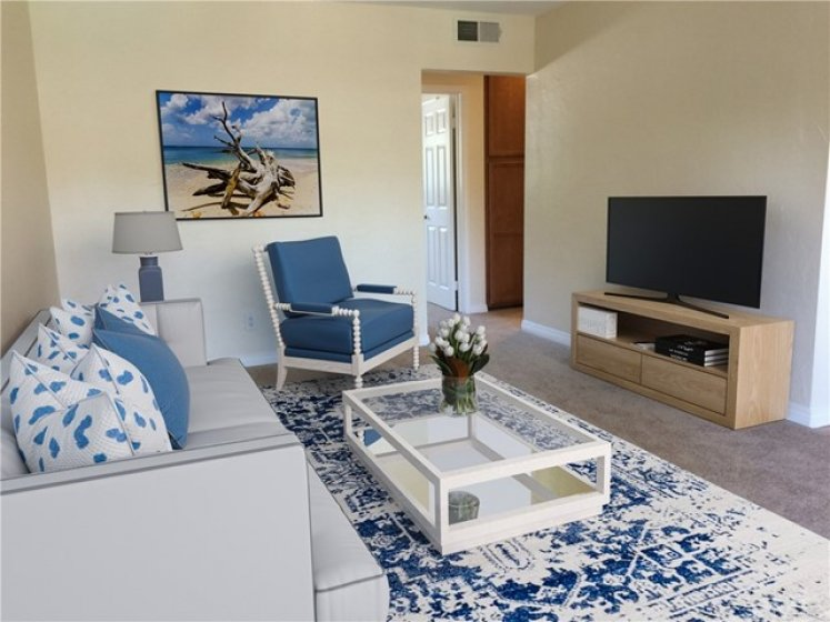 Living room has been virtually staged
