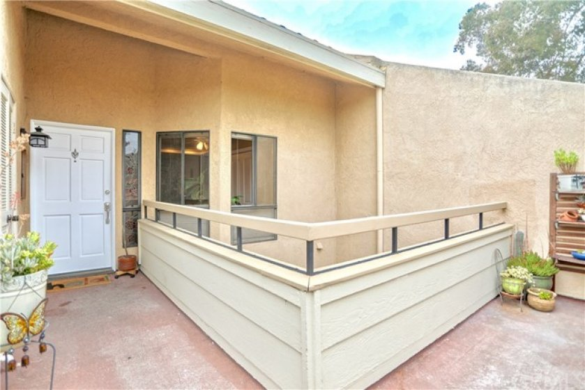Private entrance and front patio.