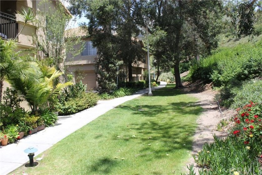 Large HOA maintained greenbelt just outside the patio.