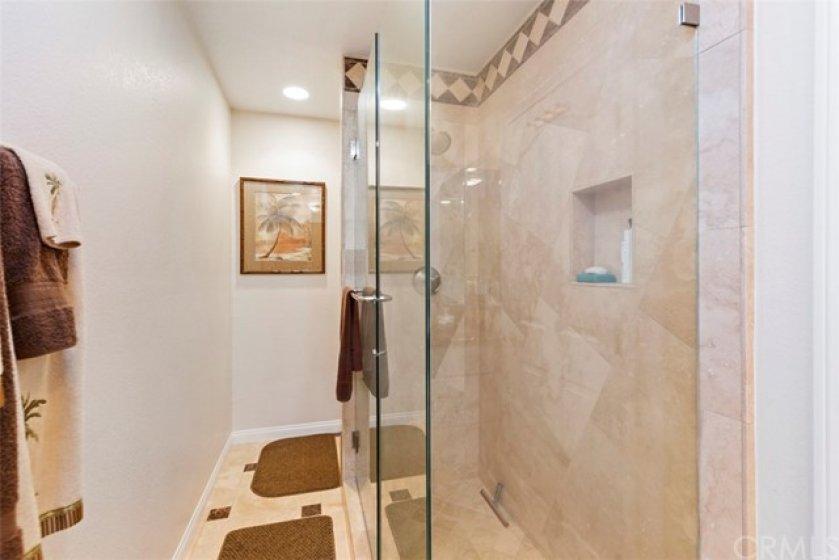 Designer master bath with oversized shower