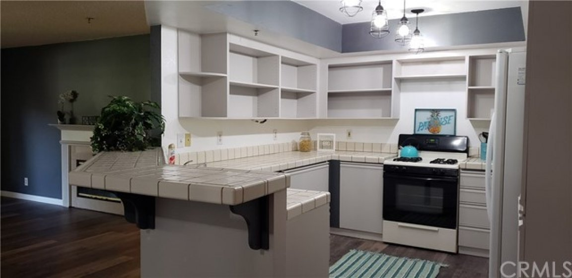 Open concept kitchen from dining area
