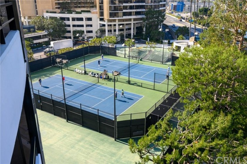 View from balcony of tennis courts
