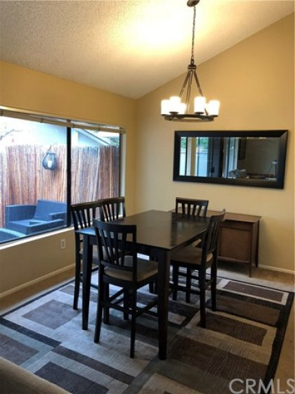 Dining area with view of patio.