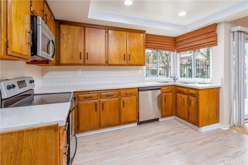 Kitchen is fitted with Quartz countertops.