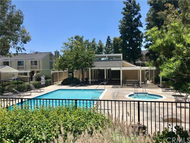 Community pool and spa. Has outdoor shower, dining area and restrooms.