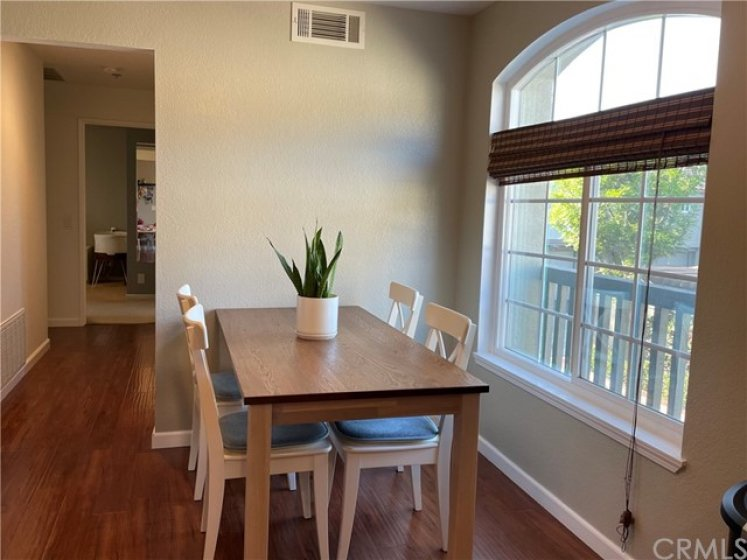 Comfortable dining area across from the kitchen
