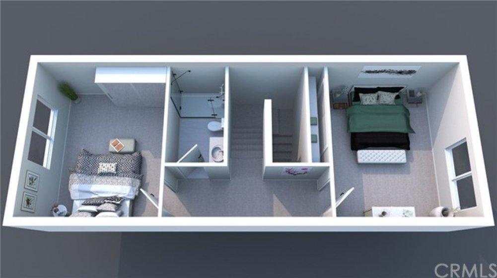 3D floor plan of second floor.