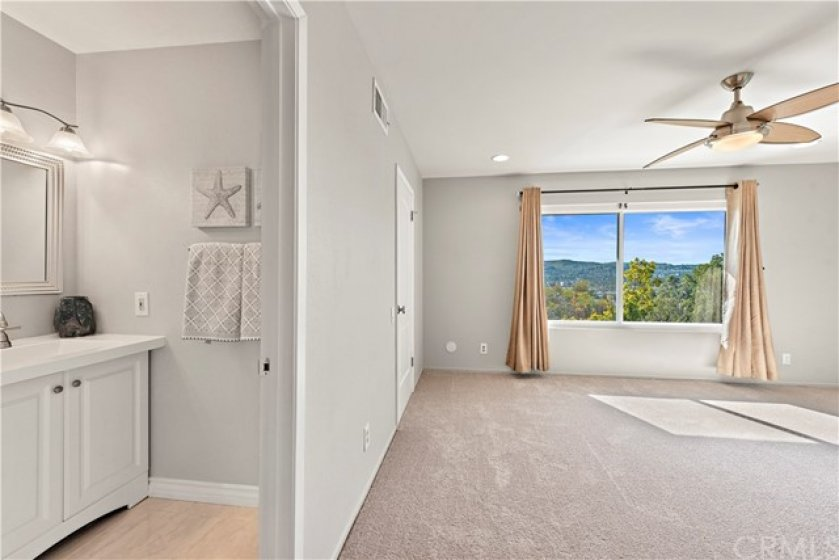 Master bedroom boasts amazing views of the Anaheim Hills landscape, in addition to, a private en suite and walk-in master closet with buit-ins.