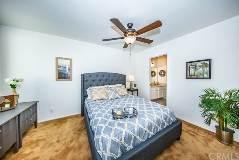 Bedroom #2 with ceiling fan.
