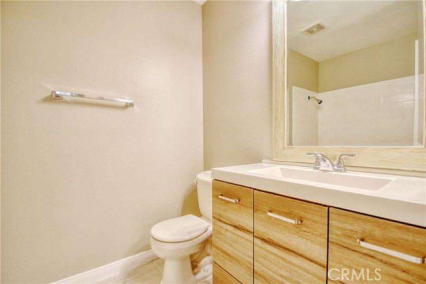 Vanity in guest bathroom.