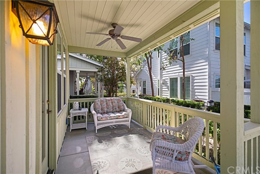 "Cape Cod style corner home in the ""green"" village of Terramor in the master planned community of Ladera Ranch. Recently painted on the outside, this home also has a cozy front porch for relaxing outside."