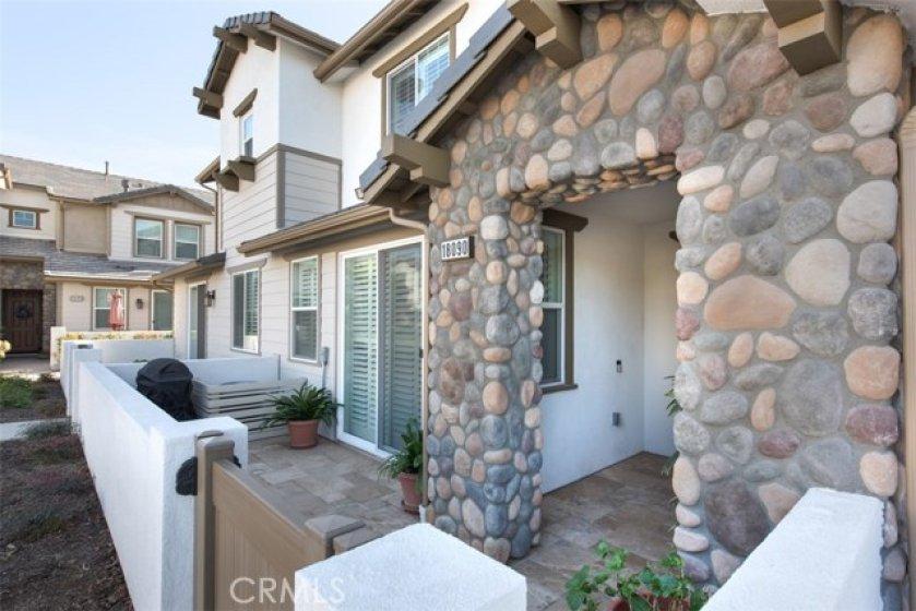 Beautiful upgraded travertine patio and entrance way...