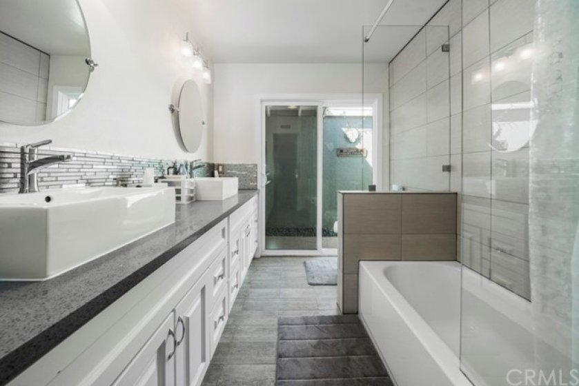 Full master bathroom with dual sinks.  Completely remodeled!