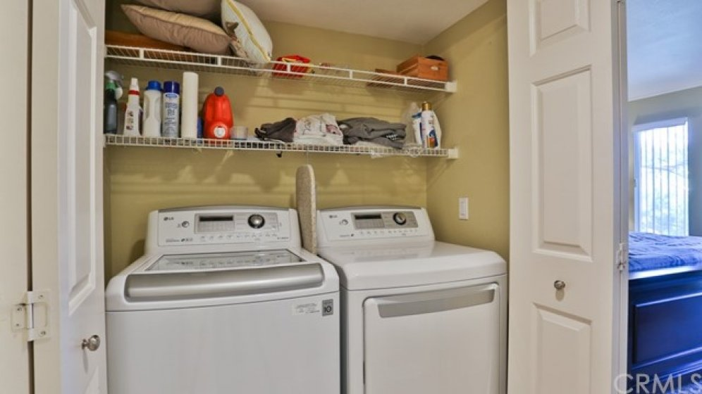 washer & dryer are inside and included. Less than 2 years old