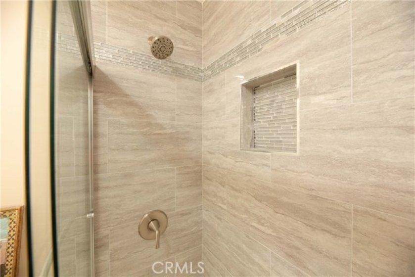 Guest Bath Tub Has Custom Porcelain Tile Floor To Ceiling