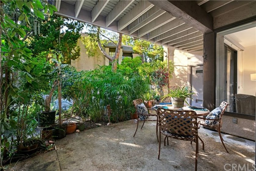 Large rear patio with lush plants and a running stream