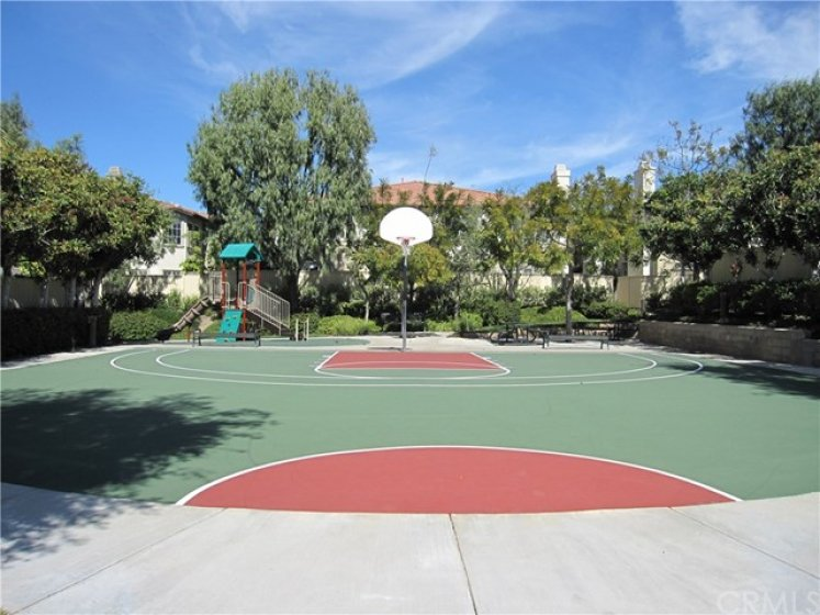 Basketball sport court, tot lot playground, picnic area.