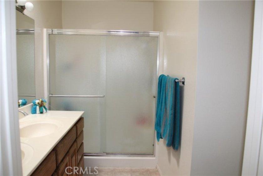 Master bath, double sink vanity, shower enclosure