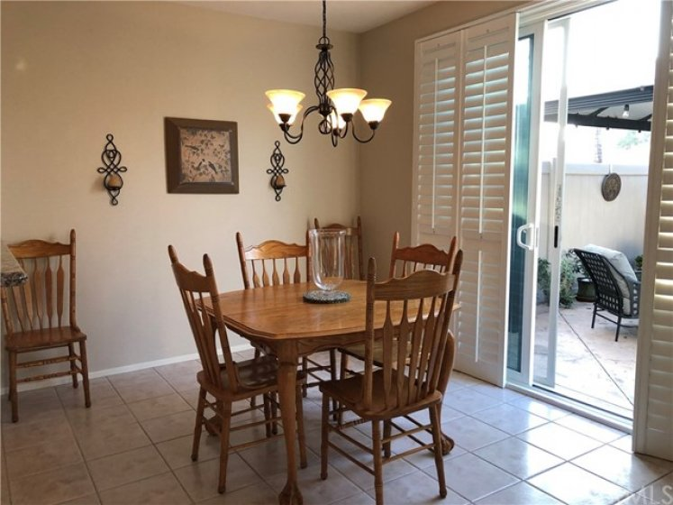 Dining Area with Slider to the Patio.