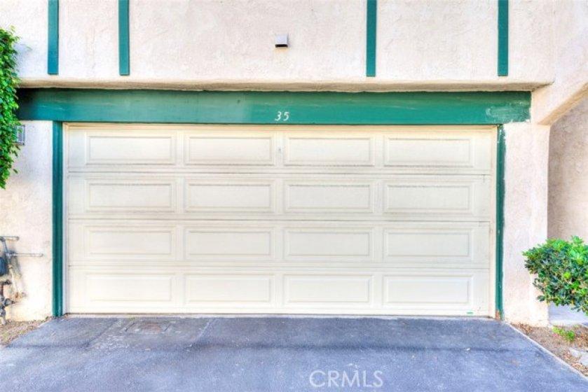 2 car garage with plenty of storage
