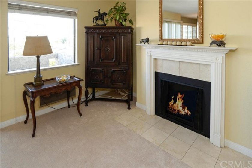 Living Room with designer fireplace and view of Harbor