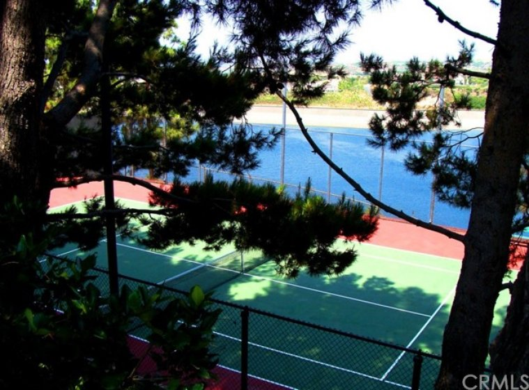 The three tennis courts are nestled in a pine grove and boast water views.