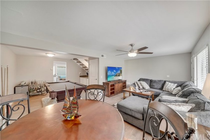 Spacious townhome in sought after Fountain Valley. Oversized living/dining room (or billiards room, if you prefer).