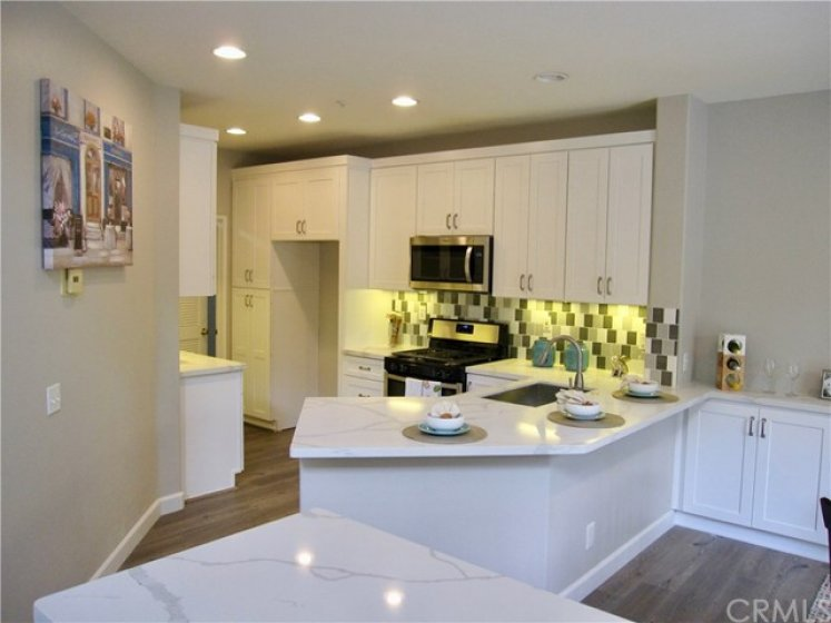 Fully remodeled kitchen. New shaker style cabinetry, quartz counters, stainless appliances, deep single basin sink, fixtures, durable waterproof laminate wood flooring.