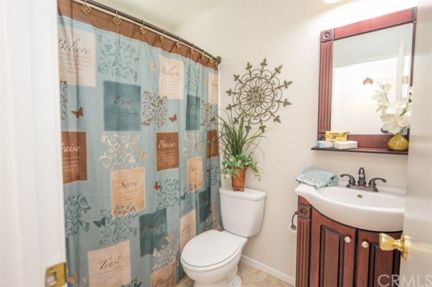 guest bathroom with tub in shower