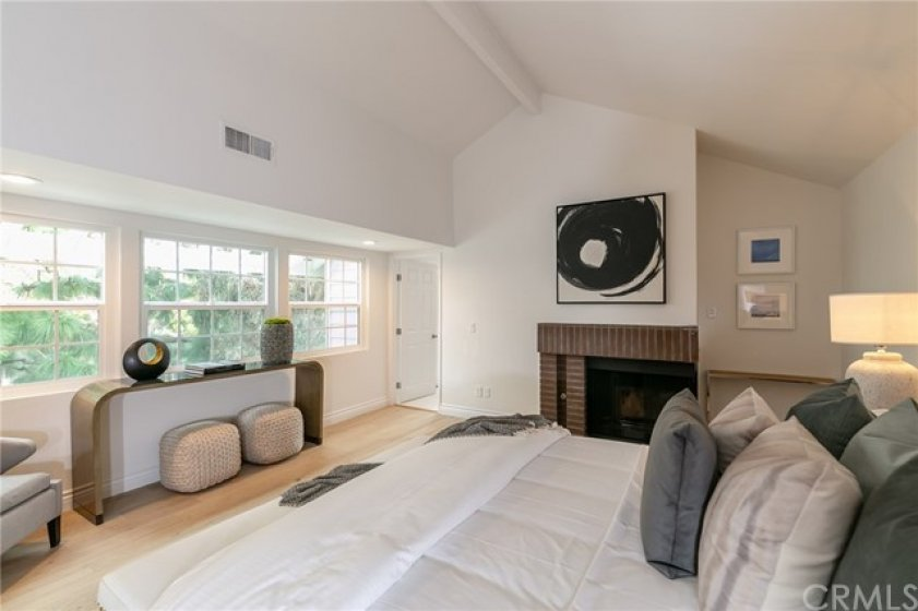 Master Bedroom w High Ceilings, Fireplace, Natural Light