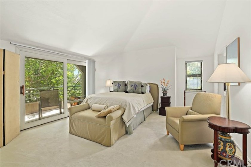 Vaulted ceiling in the spacious master bedroom.