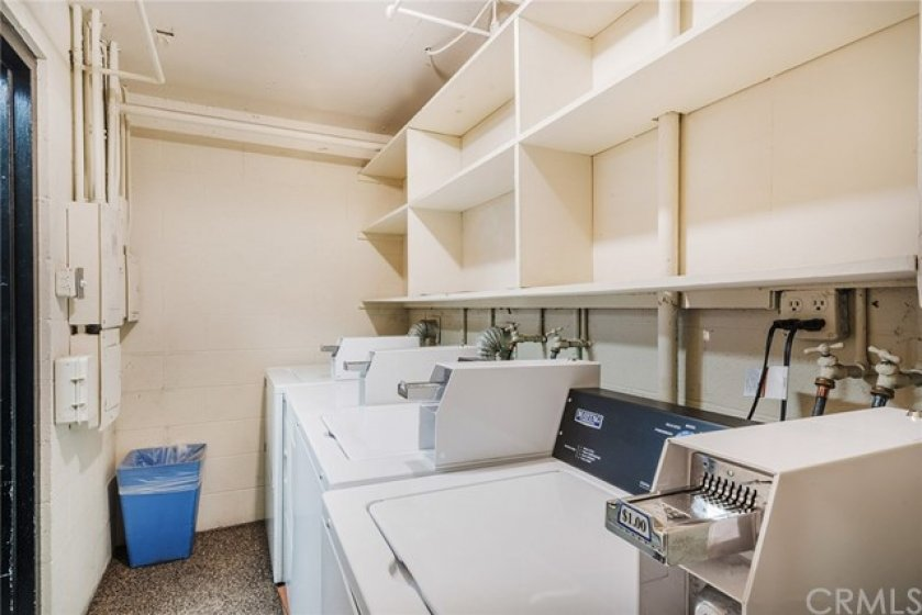 The Community laundry room is securely located in the parking garage and adjacent to the elevator.