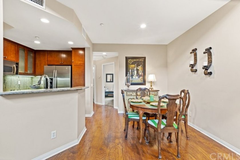 Dining room with kitchen view