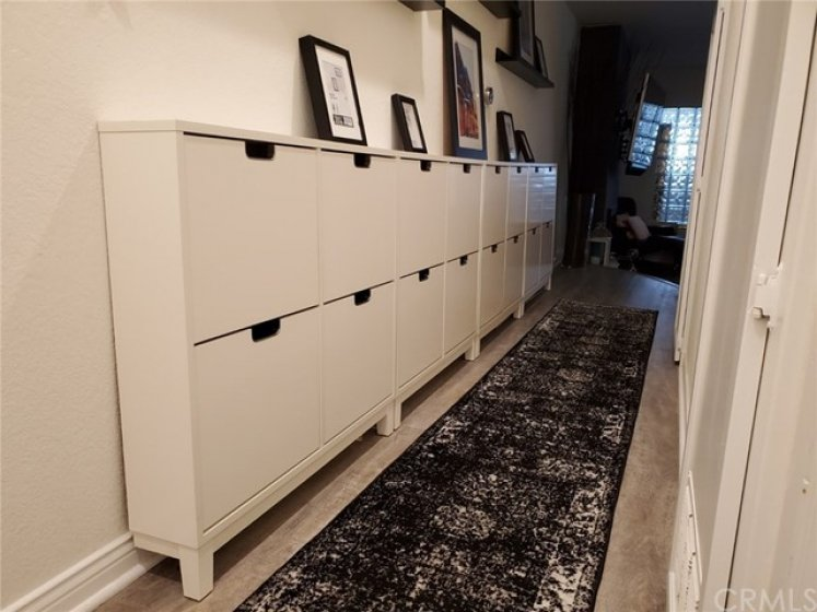 Entry with unique shoe/storage bins