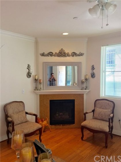 Fireplace in living room.